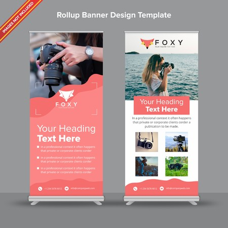 Rollup Banner with peachy fluid design will take care of all your indoor and outdoor advertising needs or displaying promotional information. Ilustracja