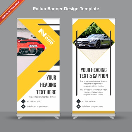 Rollup Banner with modern abstract shapes will take care of all your indoor and outdoor advertising needs or displaying promotional information.