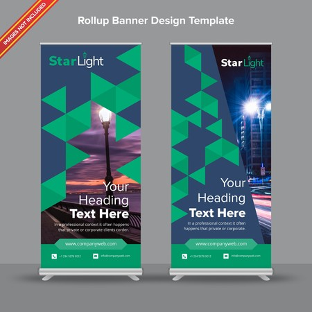 Rollup Banner with trilateral abstract shapes will take care of all your indoor and outdoor advertising needs or displaying promotional information.