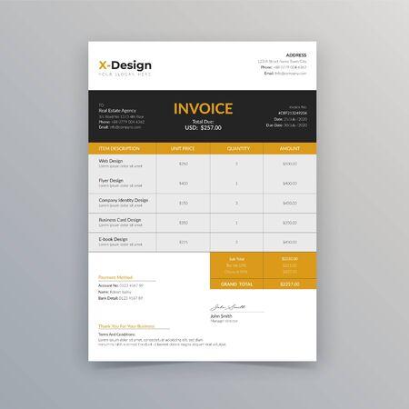 Clean minimal invoice vector template design