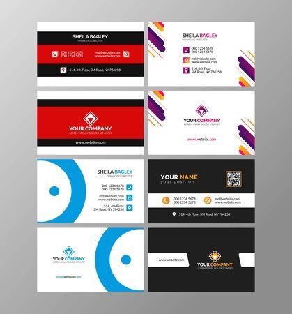 Tarjeta de visita minimalista o diseño de tarjeta de visita en la parte delantera y trasera. Ilustración de vector