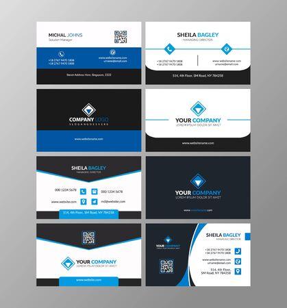 Biglietto da visita creativo moderno blu e biglietto da visita, disegno vettoriale modello pulito semplice orizzontale, layout in dimensioni rettangolari Vettoriali