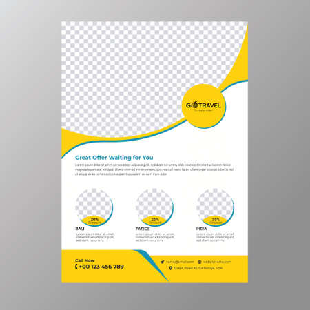 Tour and Travel agency business flayer design and brochure template concept. Иллюстрация