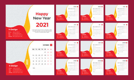 Wall calendar 2021. Yearly planner with all months. School and company schedule.