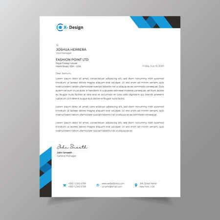 Modern business stationery, Professional creative letterhead Ilustracja