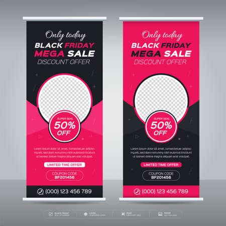 Black friday offer promotion sale banner, Black Friday roll up banner, Black friday sale banner. Vetores