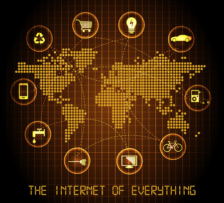 The internet of everything  flashing map