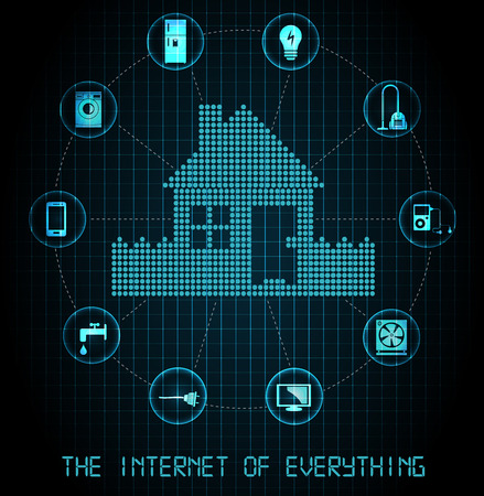 The internet of everything banner  blue edition Stock Illustratie
