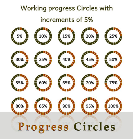 increments: Progress circles with increments of 5  brown design