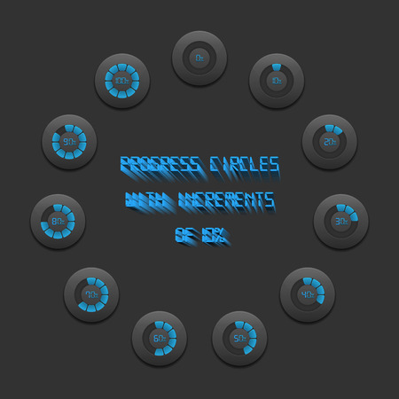increments: Progress circles bar with increments of 10  blue edition Illustration
