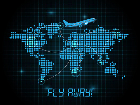 Fly away map  blue design Vector