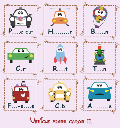 Learning flash cards  completing vehicle names Vector