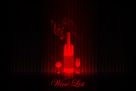 Wine list on the stage  red design Vector