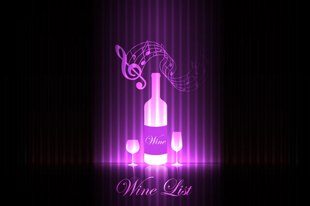Wine list on the stage  pink design Vector
