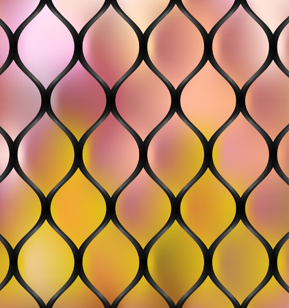 chainlink fence: Colorful wire guard Illustration