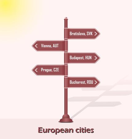 capitals: Road sign post  European capitals Illustration