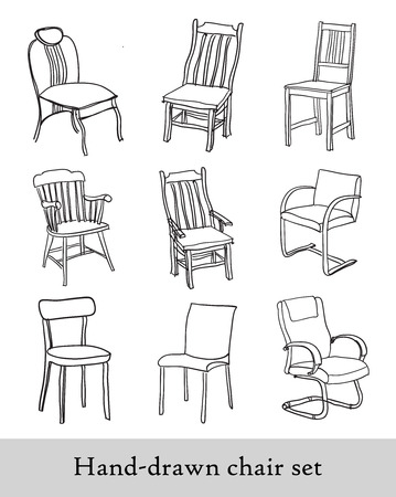 silla de madera: Conjunto de silla Handdrawn Vectores