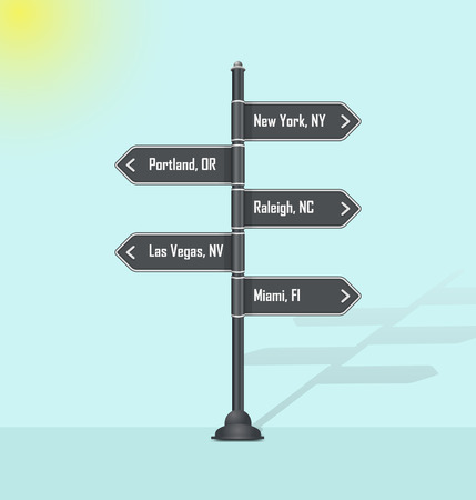 Road sign post USA cities Vetores
