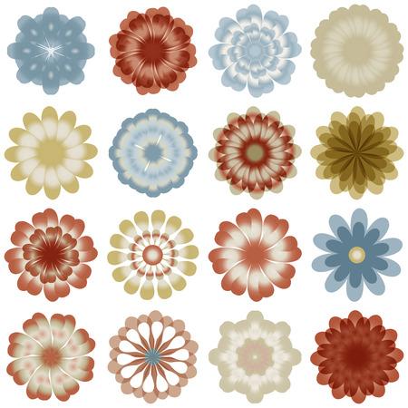 Multiple pastel color flowers Vector