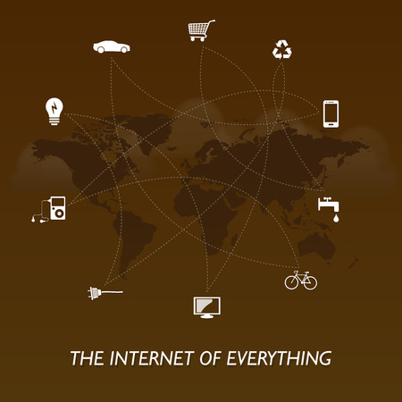 The Internet of everything - world edition - brown design