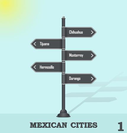 flechas direccion: Ciudades mexicanas 1 - poste de señalización de carreteras
