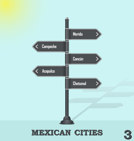 cancun: Road sign post - Mexican cities 3