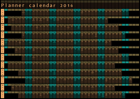 posted: Planner calendar 2016 - with holiday days posted inside - brown and green design template