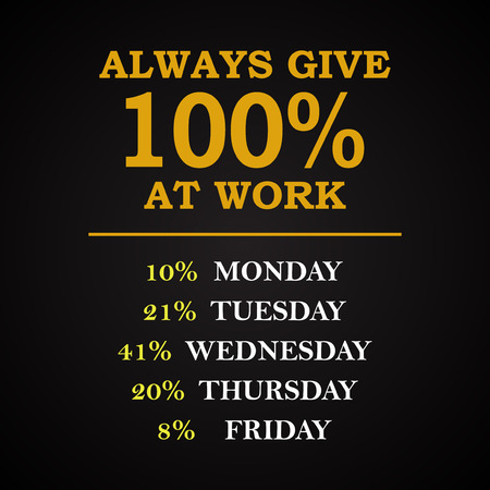 Always 100 at work - funny inscription template