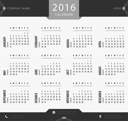 thursday: 2016 calendar template for companies and private use