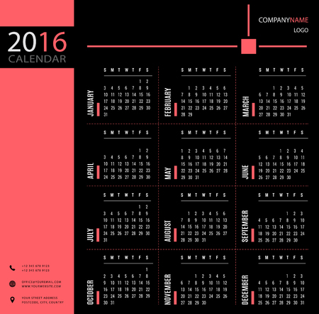 event planner: 2016 calendar template for companies and private use