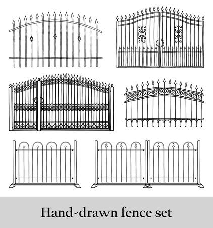 Hand drawn fence set