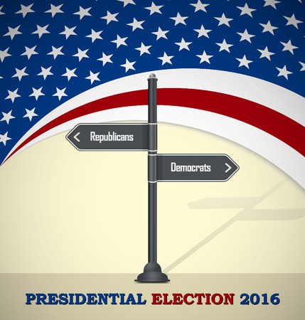nomination: 2016 US Presidential election template with road sign - Democrats or republicans Illustration