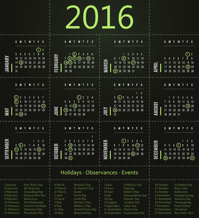 event planner: 2016 calendar template with holidays, observances and events - green edition