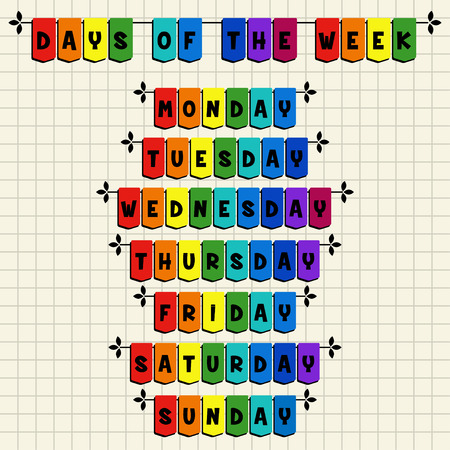 week: Days of the week - cartoon template Illustration