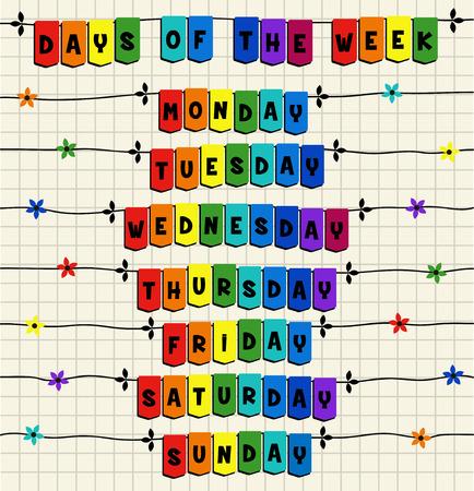 weekdays: Days of the week - cartoon template Illustration