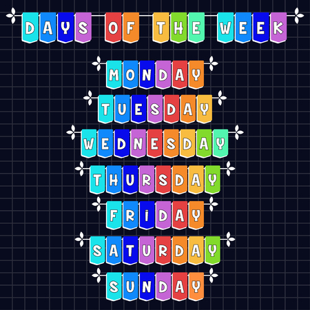 organizer: Days of the week - cartoon template Illustration