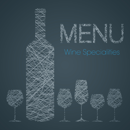 pinot grigio: Wine list with wine specialties - blue and white edition