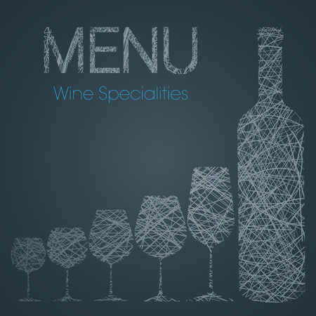 white riesling grape: Wine list with wine specialties - blue and white edition