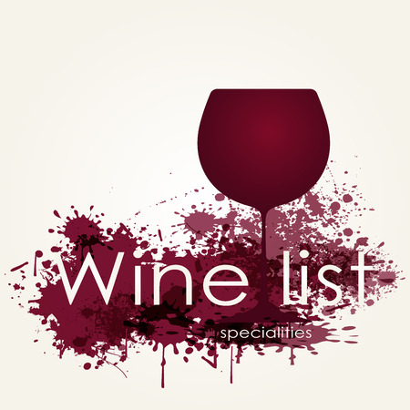 wine grapes: Wine list menu with red glass and blotched design Illustration