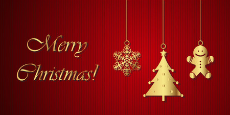 gold ornaments: Merry Christmas! - Greeting card Illustration