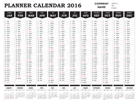 planner: Planner calendar 2016 for companies and private use