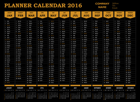 event planner: Planner calendar 2016 for companies and private use