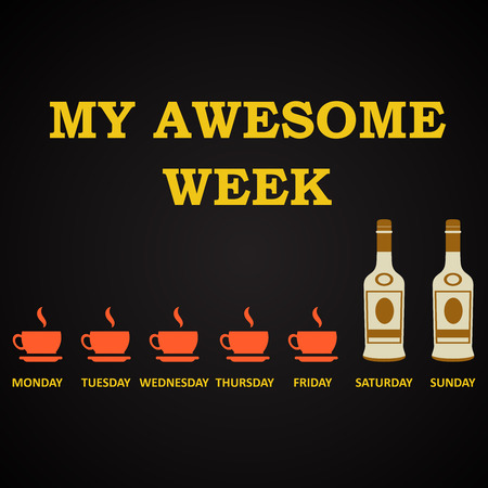 t bar: My awesome week - funny inscription template