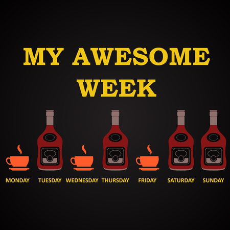 My awesome week - funny alcohol inscription template