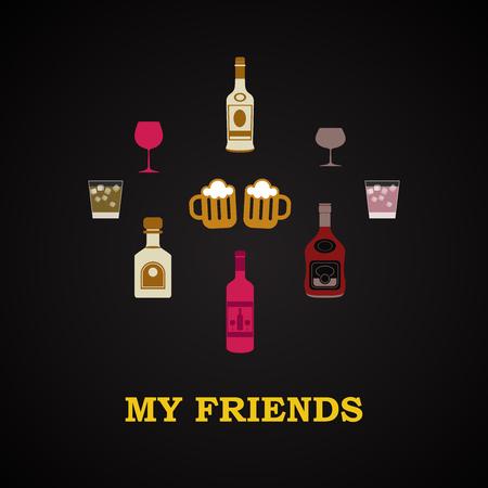 drunk test: My friends - funny inscription template Illustration