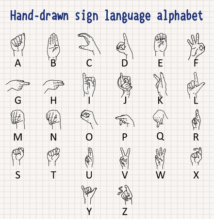 Hand-drawn sign language alphabet Illustration