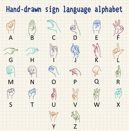 Hand-drawn sign language alphabet Stock Illustratie