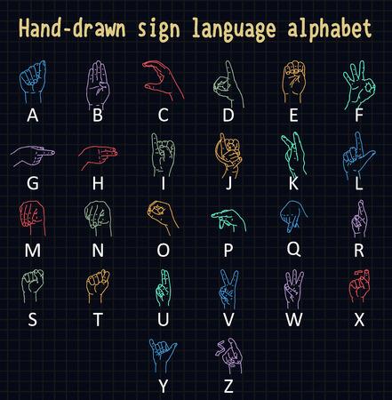 Hand-drawn sign language alphabet Stock Illustratie
