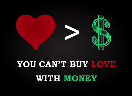 love of money: Love and money - funny inscription template