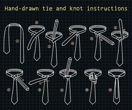 windsor: Hand-drawn tie and knot instructions